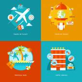 Vector travel and tourism icons set. — Stock Vector