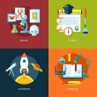 Vector school and education icons set for web design and mobile apps. Illustration for biology, history, astronomy and literature. — Stock Vector #53320841
