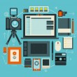 Photographer stuff and elements. Flat vector concept of creative modern workspace. — Stock Vector #53320873