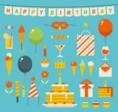 Birthday party flat vector icons. — Stock Vector