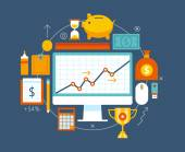 Finance and money items collection. — Vector de stock