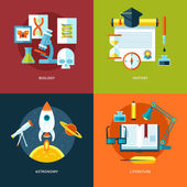 Vector school and education icons set for web design and mobile apps. Illustration for biology, history, astronomy and literature. — Stock Vector