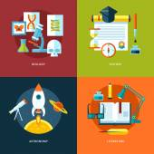 Vector school and education icons set for web design and mobile apps. Illustration for biology, history, astronomy and literature. — Vector de stock