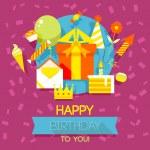 Birthday, anniversary, jubilee party invitation card, postcard design. Vector illustration. — Stock Vector #56855635