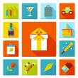Set of flat vector birthday party icons. Holiday, wedding, jubilee, celebrating of event. — Stock Vector #56855639