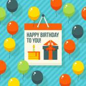 Birthday, anniversary, jubilee party invitation card, postcard design. Vector illustration. — Stock Vector