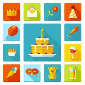Set of flat vector birthday party icons. Holiday, wedding, jubilee, celebrating of event. — Stock Vector