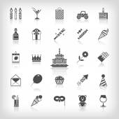 Collection of birthday, jubilee, holiday, celebrating party icons. Black silhouettes isolated on white background. — 图库矢量图片