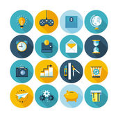 Modern flat icons vector collection with long shadow effect. — Stock Vector