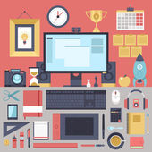 Flat modern design vector illustration concept of creative office workspace, workplace. — Stock Vector