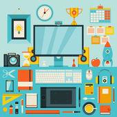 Düz modern tasarım vektör illüstrasyon kavramı yaratıcı office çalışma, işyeri. — Stok Vektör