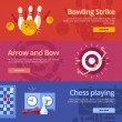 Set of flat design concepts for bowling strike, arrow and bow, chess playing. Concepts for web banners and print materials — Stock Vector #58311851