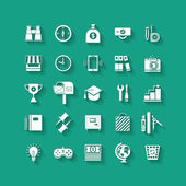 White flat icons set with long shadows. Business object, office tools. Marketing, social, creative stuff. — Stock Vector