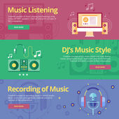 Set of flat design concepts for music listening, djs music style, recording. Concepts for web banners and print materials — Stockvector
