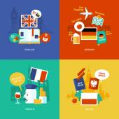 Set of flat design concept icons for foreign languages. Icons for english, german, french and polish. — Stock Vector
