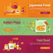 Flat concepts for japanese food, italian pizza, fast food. — Stock Vector