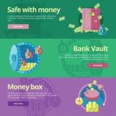 Flat design concepts for safe, money, bank vault, money box. — Stock Vector