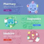 Set of flat design concepts for pharmacy, diagnostics, medicine. Medical concepts for web banners and print materials. — Cтоковый вектор