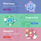 Set of flat design concepts for pharmacy, diagnostics, medicine. Medical concepts for web banners and print materials. — Stock Vector