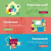 Set of flat design concepts for preschool, classroom and homework. Education concepts for web banners and print materials. — Stock Vector