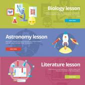 Set of flat design concepts for biology, astronomy, literature lessons. EducationConcepts for web banners and print materials. — Stock Vector