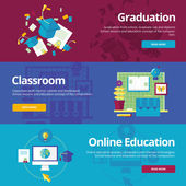 Set of flat design concepts for graduation, classroom, online education. Education concepts for web banners and print materials. — Stock Vector