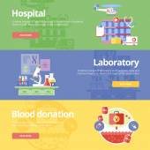 Set of flat design concepts for hospital, laboratory and blood donation. Medical concepts for web banners and print materials. — Stockvektor