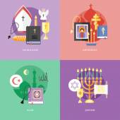 Set of flat design concept icons for religions and confessions. Icons for catholicism, orthodoxy, islam, judaism. — Stock Vector