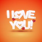 I love you text with hearts — Stock Vector