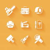 Trendy flat working tools icons white silhouettes — Stock Vector