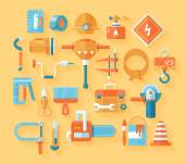 Flat working tools icon set. — Stock Vector