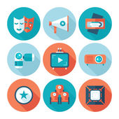 Set of flat cinema and movie icons. Media video attributes. — Wektor stockowy