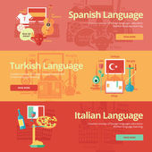 Flat design banners for spanish, turkish, italian. Foreign languages education concepts for web banners and print materials. — Stock Vector