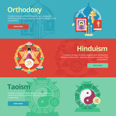 Flat design banner concepts for orthodoxy, hinduism, taoism. Religion concepts for web banners and print materials. — Stock Vector