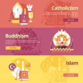 Flat design banner concepts for islam, buddhism, catholicism. Religion concepts for web banners and print materials. — Stock Vector