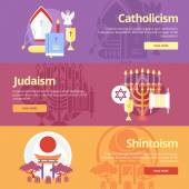 Flat design banner concepts for catholicism, judaism, shintoism. Religion concepts for web banners and print materials. — Stock Vector