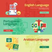 Flat design banners for english, portuguese, arabian. Foreign languages education concepts for web banners and print materials. — Stock Vector
