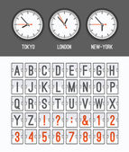 Airport arrival table alphabet with characters and numbers for departures, arrivals, clocks, countdowns. Vector illustration. — Stock Vector