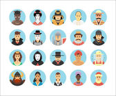 Persons icons collection. Icons set illustrating people occupations, lifestyles, nations and cultures. — Stock Vector