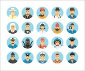 Persons icons collection. Icons set illustrating people occupations, lifestyles, nations and cultures. — Stockvector
