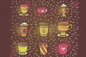Coffee mugs and free pattern — Stock Vector