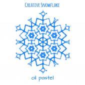 Snowflake hand drawn with oil pastels — Cтоковый вектор
