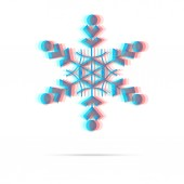 Snowflake anagliph icon with shadow — Vettoriale Stock