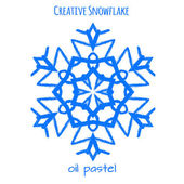Snowflake hand drawn with oil pastels — Stock Vector