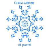 Snowflake hand drawn with oil pastels — Vettoriale Stock