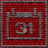 Red calendar icon on knitted pattern — Stock Vector