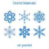 набор руки снежинки, оттянутой с нефтяными пастелями — Cтоковый вектор