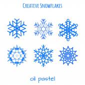 Set of snowflake hand drawn with oil pastels — Stockvektor