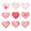 Vector set of scribbled hand drawn hearts for Valentines Day — Vector de stock  #63474197