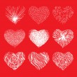Vector set of scribbled hand drawn hearts for Valentines Day — Vector de stock  #63474319